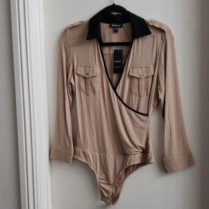 Bebe 3/4 Sleeve Contrast Trim Bodysuit size M